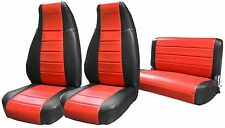 1986-1995 Jeep Wranlger YJ Custom Fit Seat Covers Syn Red Black Front Bench