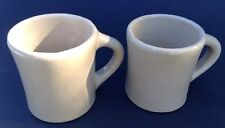 2 Vintage Monmouth Coffee Mugs  Heavy Hand Thrown Maple Leaf On Bottom Clay