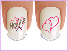 Nail Art #5684 MILITARY Marine Wife Hearts WaterSlide Nail Decals Transfers