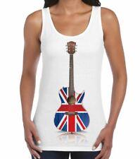 Union Jack Acoustic Guitar Britpop Womens Guitarist Vest Top