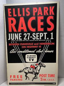 Vintage 1960s ELLIS PARK Horse Races Racing Original Poster Evansville Indiana