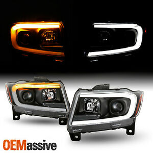 For 11-13 Grand Cherokee C-Tube Sequential Turn Signal Projector Black Headlight