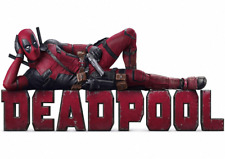 MARVEL DEADPOOL  WITH LOGO IN RED FULL POSTER VINYL WALL STICKER VARIOUS SIZES