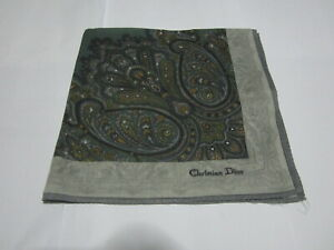 "USED GRAY & GREEN PAISLEY PATTERN COTTON 18"" HANDKERCHIEF POCKET SQUARE MEN #2"