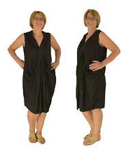 LN100SW Damen Kleid Plus Size gerafftes Etui Kleid Used Look one size schwarz
