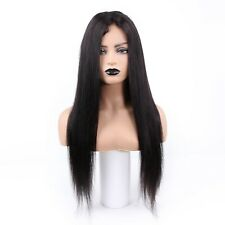 """Cut Extra Lace 24"""" Natural Black Color 100% Human Remy Hair Lace Frontal Wigs"""