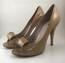 Joan & David daOrlina Open Toe Patent Leather Stiletto Shoes 9M Tan Heels