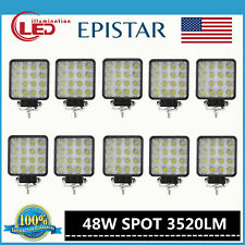 10X 48W Spot LED Off road Work Light Lamp 12V 24V Vehicle Boat Truck Driving SUV