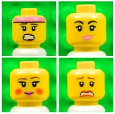 Lego Female Yellow HEADS [x4] for minifigures girl woman smile lips # NEW # 4p3