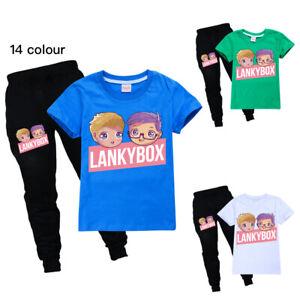 Boys Girls LANKYBOX Kids Summer T shirt And Pants Trousers Tracksuit 2PCS Set