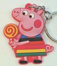"1.5"" Peppa Pig Lollipop Rainbow United Kingdom PVC Keychain Key Chain Lot USA"