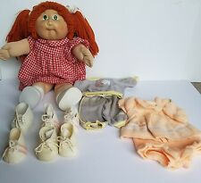 Vintage1982 Cabbage Patch Doll Kids Red Hair Pigtails Plus 2 Outfits