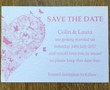 10 Personalised Vintage Save The Date Butterfly Wedding day cards - handmade