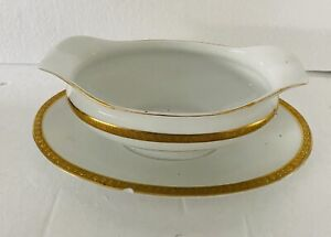 Noritake Gravy Boat Sauce With Attached Plate