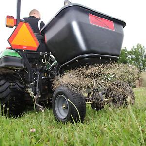 Tow Behind Fertilizer Spreader Pull Seeder Lawn Grass Seed Garden Riding Mower