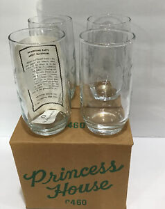 """4 Vintage Princess House Heritage Crystal Etched Glass Tumblers 5""""Tall #0460"""