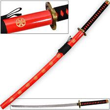 Hachiman Katana of War Japanese Frostbite Sword Tosho Red & Black CARBON STEEL