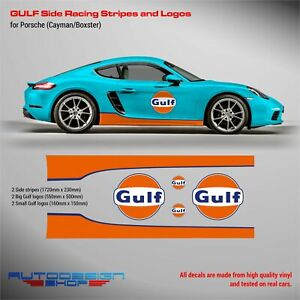 GULF Le Mans SIDE RACING STRIPES and logos for PORSCHE Cayman / Boxster