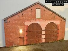 O Scale Scratch Built Engine Shed House Building Front/Flat, w/ LED MTH Lionel