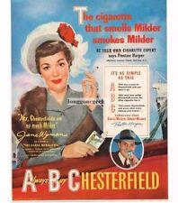 1950 Chesterfield Cigarettes Jane Wyman Vtg Print Ad