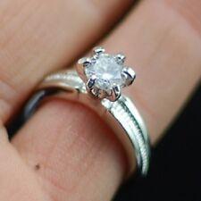 color argento rotondo taglio diamante stile cristallo anello misura UK M