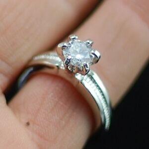 silver tone round diamond cut style crystal ring UK size M