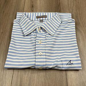 Peter Millar Summer Comfort Blue Striped Golf Polo Shirt Mens Sz L Large