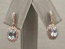 Genuine Aquamarine & Diamond Halo Solid 14K Rose Gold Dangle Earrings, New