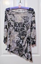Ladies Long sleeves patterned blouse asymmetric hem size 12