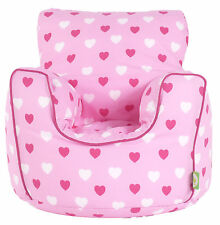 Cotton Pink Hearts Bean Bag Arm Chair with Beans Child / Teen size From BeanLazy