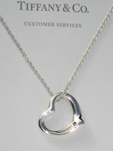 Tiffany & Co Sterling Silver Chain Solid Elsa Peretti Open Heart Curved Necklace
