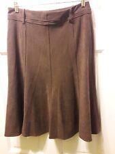 VTG B. Moss Size 8 Brown Faux Velvet Knee Length Skirt Stretch Belt hoops