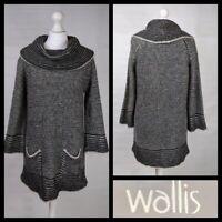 Wallis Black Cream Mohair Wool Blend Jumper Dress Size M