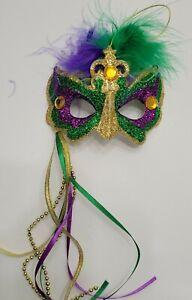 Mardi Gras Purple Green Gold Jeweled Venetian Mask Christmas Tree Ornament