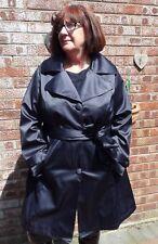 Dennis Basso shiny dark blue satin trench raincoat XL stunning shine  BH
