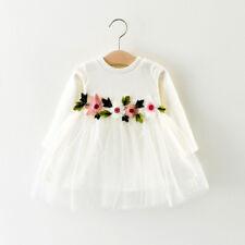 Newborn Baby Girls Long Sleeve Beautiful Autumn Winter Flower Dress Outfits Sets