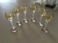 "6 Vintage Bohemia Czech Glasses Swirl Stem Amber Goblet 5 1/2"" Authentic 3 Label"