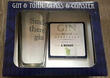 GIN AND TONIC GLASS AND COASTER SMILE THERE'S GIN FATHERS DAY GIFT PRESENT