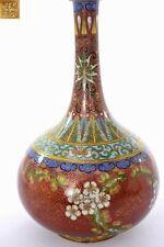 1930's Chinese Gilt Cloisonne Enamel Vase Flowers Mk Lao Tian Li LaoTianLi �天利製