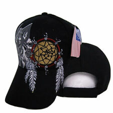 Native Pride American Dream catcher Wolf Shadow Indian Embroidered Cap Hat