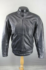 CLASSIC RAYVEN BLACK LEATHER BIKER JACKET 40 INCH