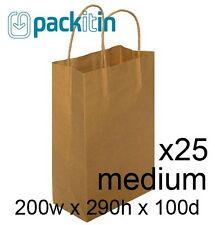 x25 KRAFT BROWN paper gift CARRY party BAGS with handles - MEDIUM (200 x 290mm)