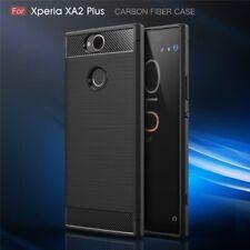 For Sony Xperia XA2 Plus Case Carbon Fibre Cover & Glass Screen Protector