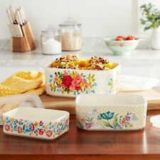 NEW The Pioneer Woman Sweet Rose 6-Piece Rectangle Ceramic Nesting Bowl Set