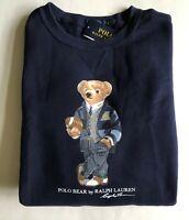 $148 NWT Mens Polo Ralph Lauren Big Preppy Bear Crewneck Fleece Sweatshirt Navy