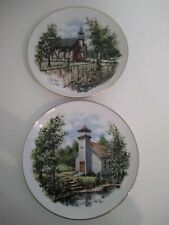 Lilliput Lane collectibles, Ray Day Rural Church Plates (Set of 2)