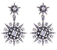 SUN MOON STAR BURST CONSTELLATIONS Silver Diamante Crystal Rhinestone Earrings
