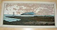 VINTAGE WELSH OIL PAINTING CHARLES WHITE PENMON WALES SEASCAPE WELSH ARTIST 1964