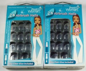 LOT OF 2 Pretty Woman 24 Airbrush False Nails Easy Pink Glue Blue French NEW
