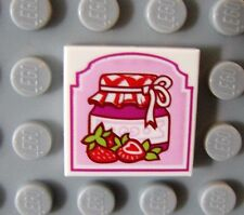 LEGO White Tile 2 x 2 with Strawberry Preserves Pattern Food Kitchen House Jelly